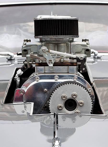 Front view of Chrome Supercharger car engine Hot Rod:スマホ壁紙(壁紙.com)