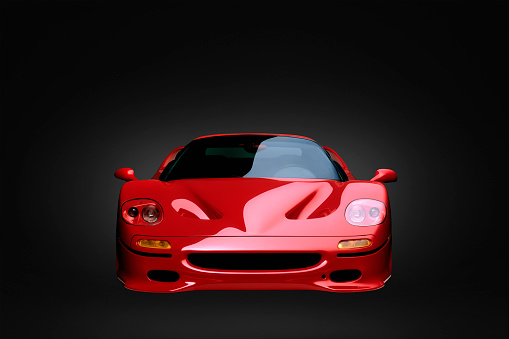 Sports Car「Front view of shiny red sports car」:スマホ壁紙(4)