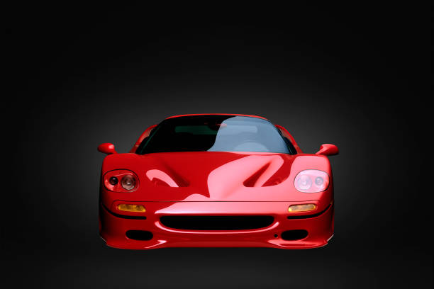 Front view of shiny red sports car:スマホ壁紙(壁紙.com)