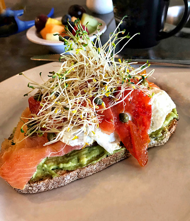 Bean Sprout「Avocado mash or spread on whole wheat toast with smoked salmon and scrambled egg whites」:スマホ壁紙(0)
