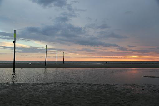 海「logs at the sea at sunset」:スマホ壁紙(0)