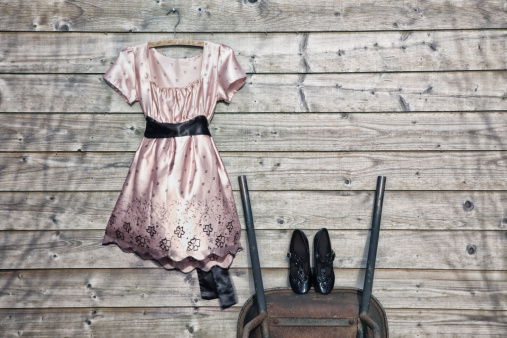 Cocktail Dress「A party dress and shoes against an old wooden shed」:スマホ壁紙(8)