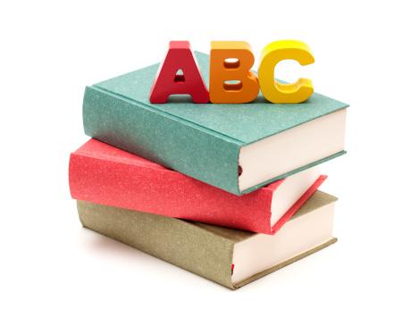 Beginnings「School Books and Alphabet isolated on white background」:スマホ壁紙(7)