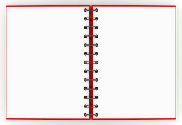 A red spiral notebook opened up to a blank non-lined pages:スマホ壁紙(壁紙.com)