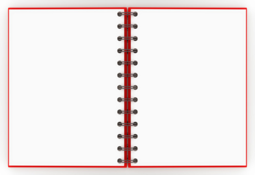 Spiral Notebook「A red spiral notebook opened up to a blank non-lined pages」:スマホ壁紙(13)