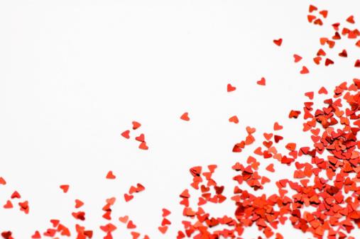 Gray Background「Loving Hearts Confetti」:スマホ壁紙(19)