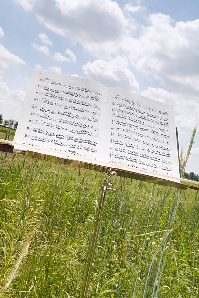 Sheet music on stand in corn field, close-up:スマホ壁紙(壁紙.com)