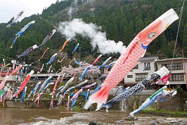 Japan, Kyushu Island, Carp flags flown by families with boys:スマホ壁紙(壁紙.com)
