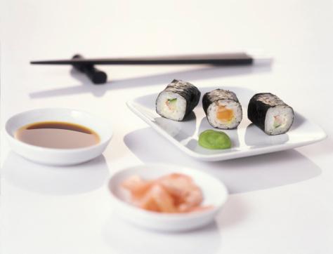 Soy Sauce「Sushi on plate with chopsticks」:スマホ壁紙(5)