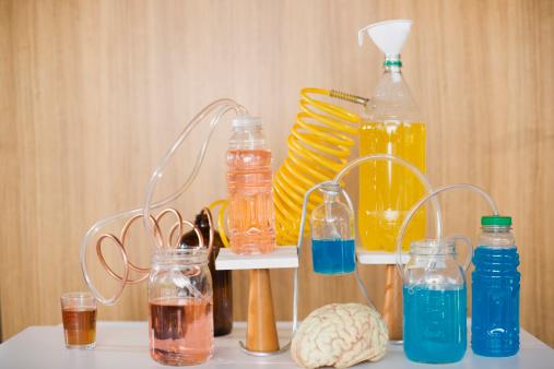 Neuroscience「Chemistry still life with bottles and brain」:スマホ壁紙(9)