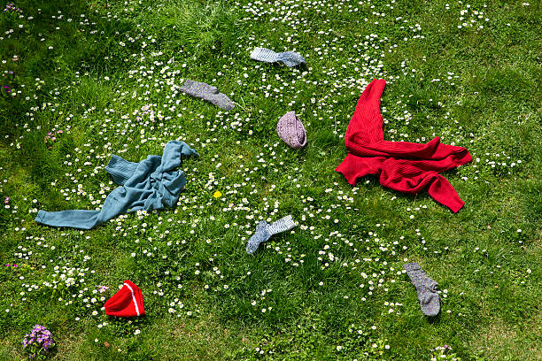 Winter clothes lying scattered in spring meadow:スマホ壁紙(壁紙.com)