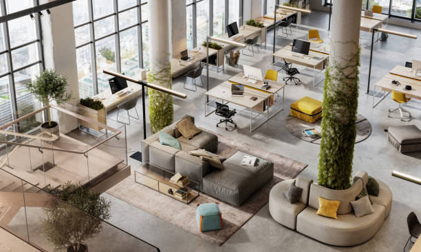 Top view 3D image of a environmentally friendly office space:スマホ壁紙(壁紙.com)