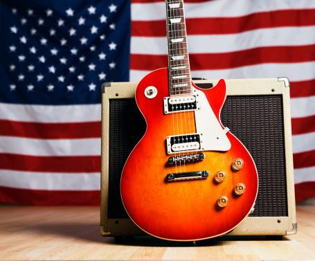 Rock Music「American music: guitar with US flag」:スマホ壁紙(8)