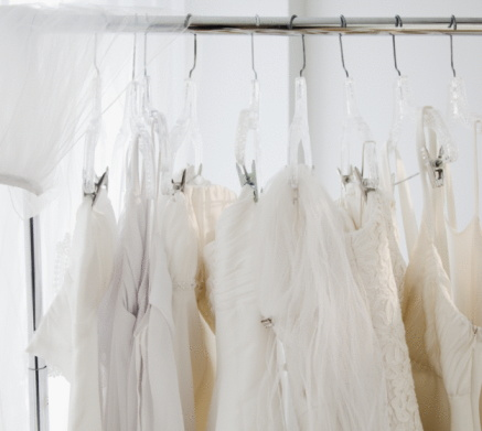 Dress「Row of wedding dresses hanging on clothes rail」:スマホ壁紙(16)