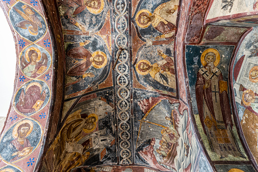 Patmos「Greece, South Aegean, Patmos, Ceiling frescoes in Monastery of Saint John the Theologian」:スマホ壁紙(12)