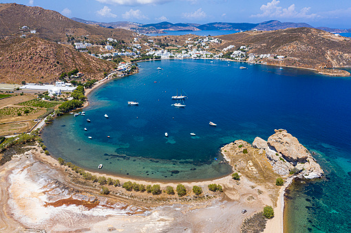 Patmos「Greece, South Aegean, Patmos, Aerial view of Grikos Bay in summer」:スマホ壁紙(6)