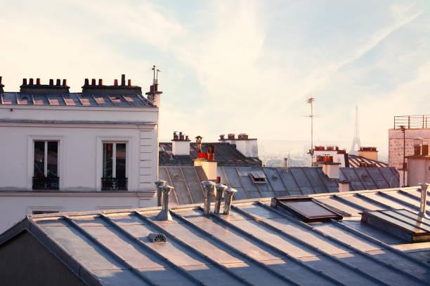 Paris rooftops and Eiffel tower:スマホ壁紙(壁紙.com)