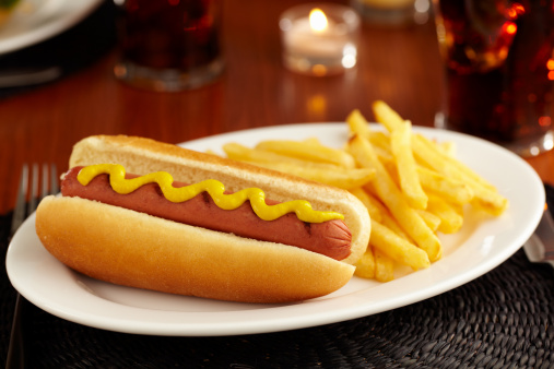 Hot Dog「Hotdog with mustard and French fries on white platter」:スマホ壁紙(6)