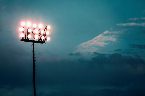 Floodlit「Sports stadium lights at dusk, night.」:スマホ壁紙(15)