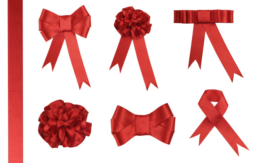 Ribbon - Sewing Item「Red Ribbon Gift - Added clipping path」:スマホ壁紙(11)