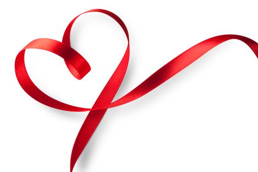 バレンタイン「レッドのハート型リボン」:スマホ壁紙(18)