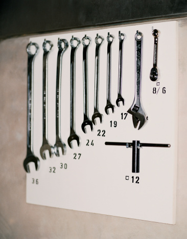 Work Tool「Various Spanners Hanging From Hooks Against a Wall」:スマホ壁紙(16)