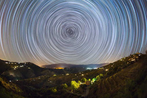 Multiple Exposure「Star trails above the Andalusian hills in southern Spain.」:スマホ壁紙(4)