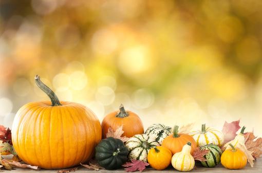 かえでの葉「秋のカボチャの背景」:スマホ壁紙(14)