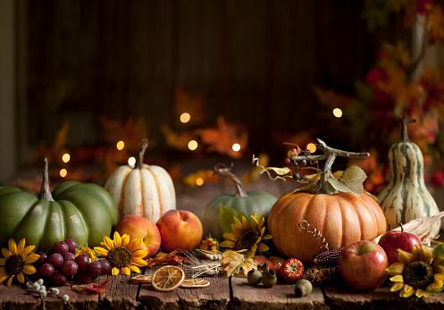 Scratched「Autumn Pumpkin Background on Wood」:スマホ壁紙(0)