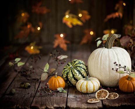 Oak Leaf「Autumn Pumpkin Background on Wood」:スマホ壁紙(19)