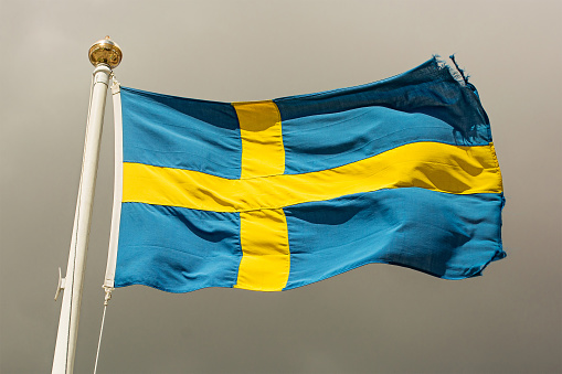 Swedish Culture「Swedish flag blowing in the wind」:スマホ壁紙(14)