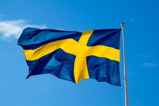 Jamtland「Swedish Flag Blows in the Breeze at the Moose Garden in Ostersund, Sweden」:スマホ壁紙(15)