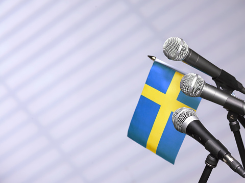 Party Conference「Swedish flag with mics」:スマホ壁紙(10)