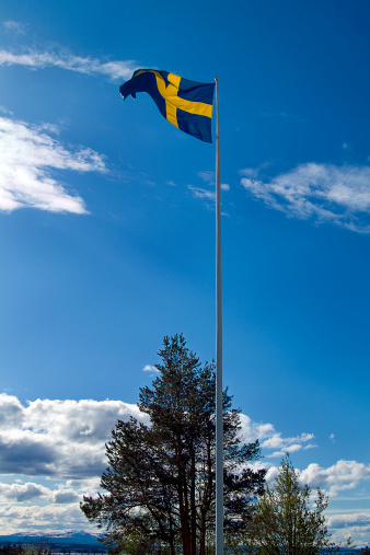 Jamtland「Swedish Flag Flies High Above the Moose Garden in Ostersund, Sweden」:スマホ壁紙(17)