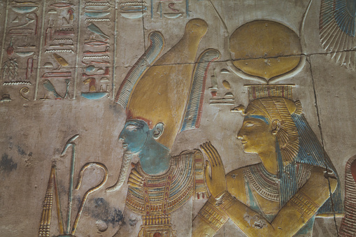 Undertaker「Bas-relief, Ramses II (left), Goddess Hathor (right), Temple of Seti I」:スマホ壁紙(18)