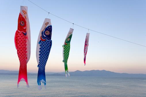 こいのぼり「Japan, Kagoshima, Kyushu, carp streamers hanging from line」:スマホ壁紙(15)
