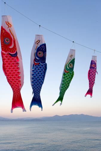 こいのぼり「Japan, Kagoshima, Kyushu, carp streamers hanging from line」:スマホ壁紙(16)