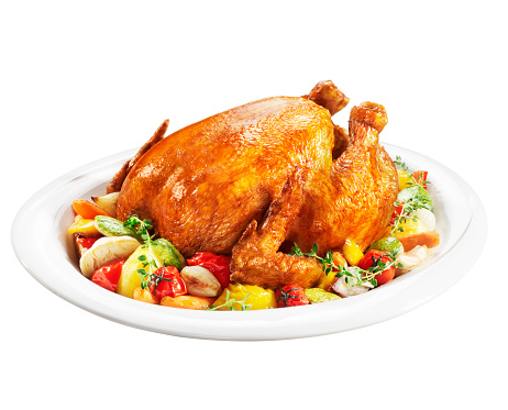 Chicken Meat「Roast chicken on a plate of vegetables」:スマホ壁紙(7)
