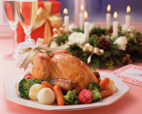 皿「Roast chicken on plate」:スマホ壁紙(13)