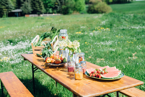 Watermelon「Beer table set with fruit and drinks on meadow」:スマホ壁紙(18)