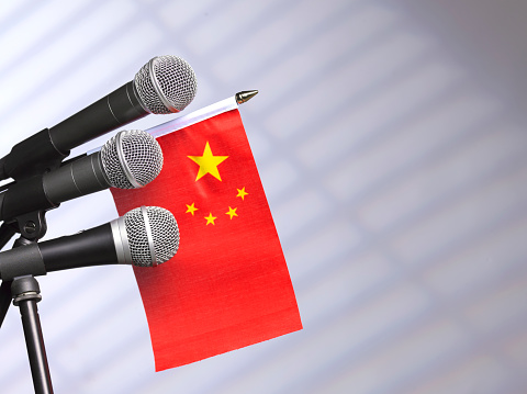 Party Conference「Chinese flag and mics」:スマホ壁紙(15)