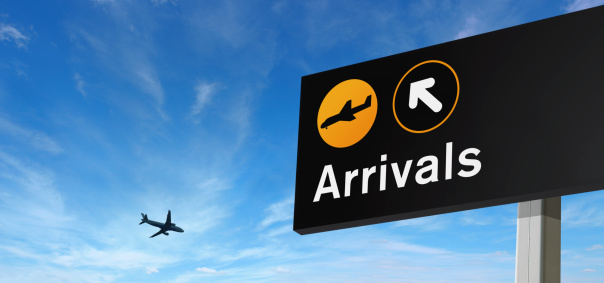 Airplane「Arrival Sign and Airplane on the Sky」:スマホ壁紙(12)