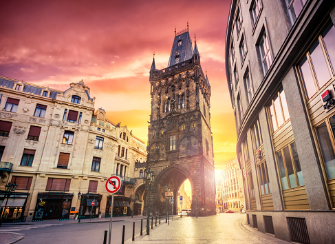 Gothic Style「The Powder Tower in Prague at sunrise. Czech Republic」:スマホ壁紙(6)