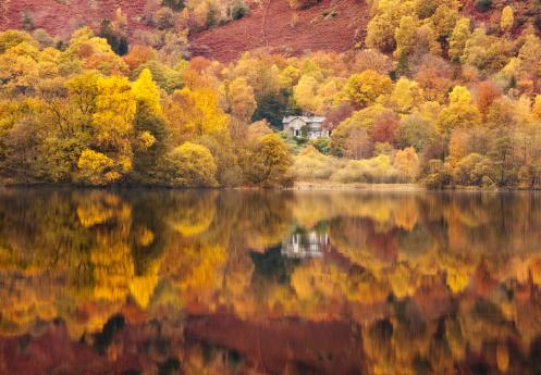 秋「Still lakeside reflections at Grasmere in the Lake District, Cumbria, England, UK」:スマホ壁紙(4)
