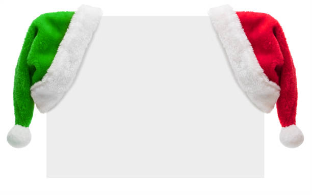 Santa Hats on a blank placard with copy space (isolated on white):スマホ壁紙(壁紙.com)