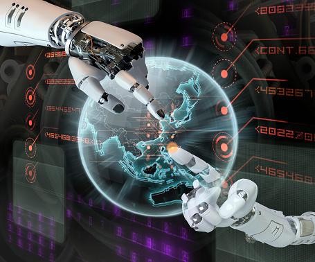 Choosing「Robotic Hands Pointing at Virtual Globe」:スマホ壁紙(3)