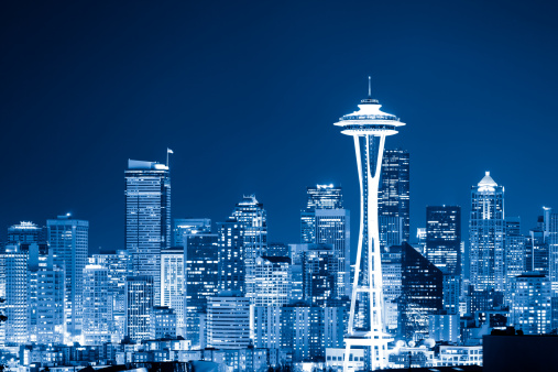 Seattle「Skyline of Seattle by night」:スマホ壁紙(15)