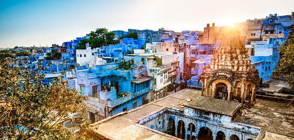Jodhpur「Skyline of Jodhpur the Blue City of India at Sunset」:スマホ壁紙(7)