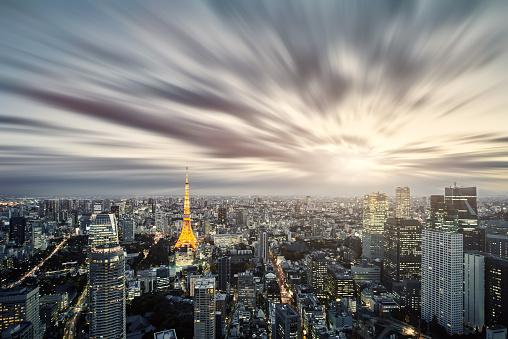 都市の全景「スカイラインの東京,日本 」:スマホ壁紙(18)