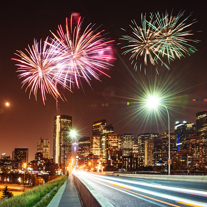 Canada Day「skyline of  calgary with fireworks for the new year」:スマホ壁紙(5)